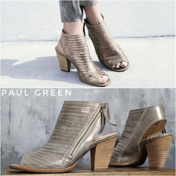 Paul Green Cayanne Leather Peep Toe Sandal Sz
